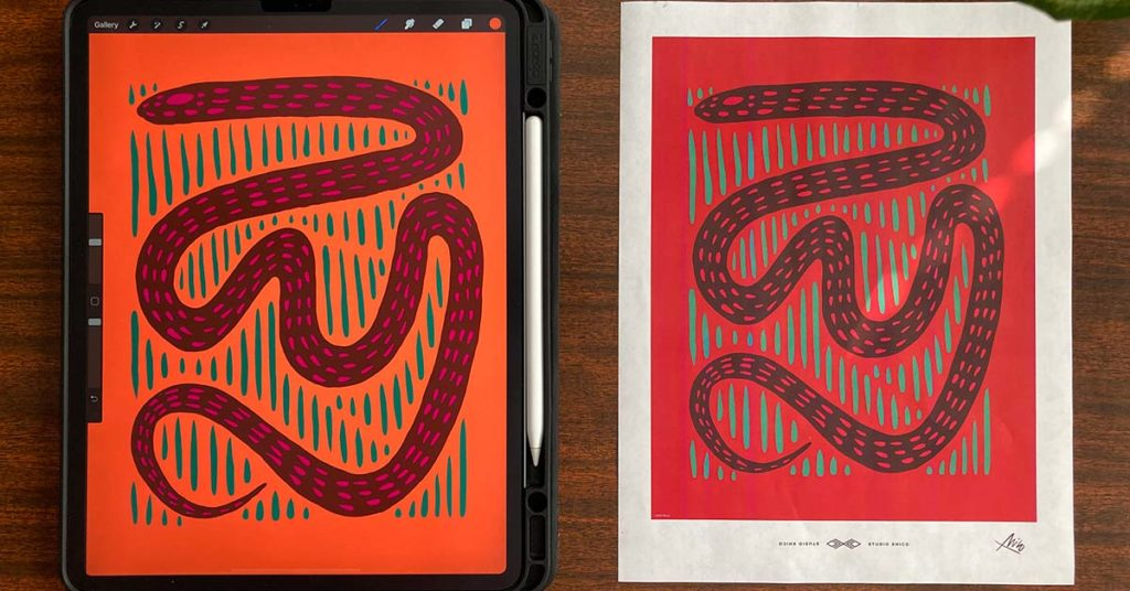 iPad with a Drawing next to Physical Print